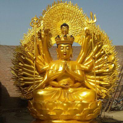 千手观音漆金铜雕塑