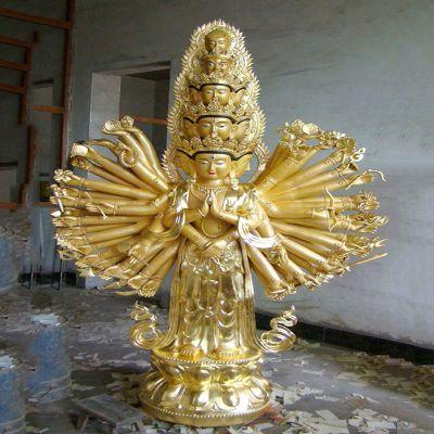 千手观音漆金铸铜雕塑