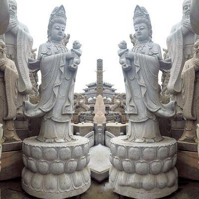送子观音青石雕塑