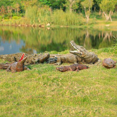 湿地公园仿真鳄鱼雕塑