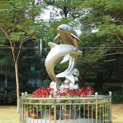 海豚不锈钢景观雕塑