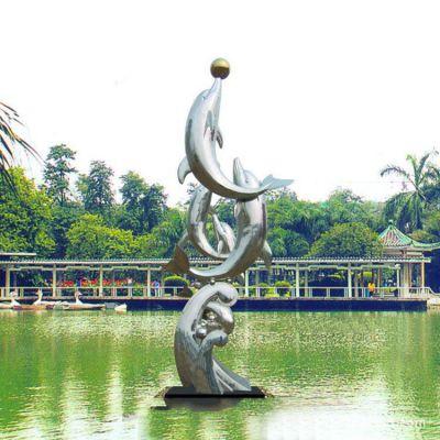 戏球不锈钢海豚雕塑