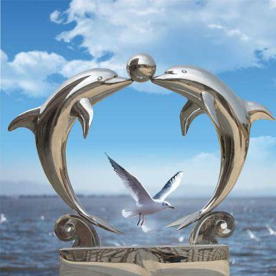 不锈钢海豚雕塑