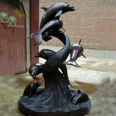 铜雕海豚景观雕塑