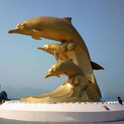 海豚漆金铜雕