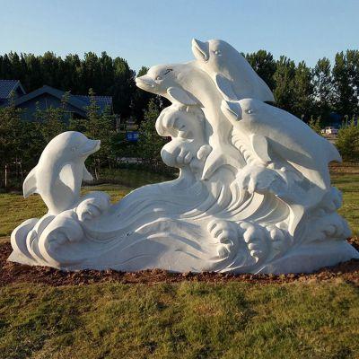 汉白玉海豚石雕