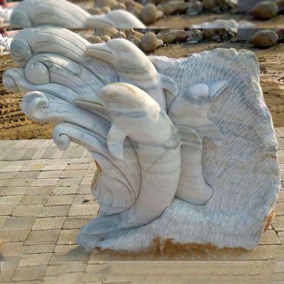 大理石浮刻海豚石雕