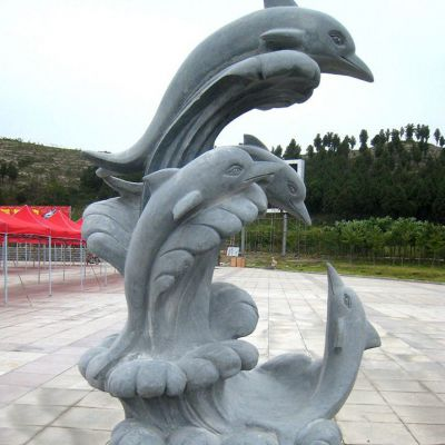 冲浪海豚大理石雕塑