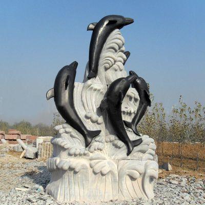 海豚石雕景观雕塑