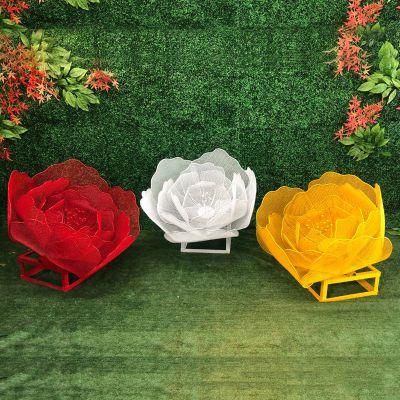 不锈钢铁艺玫瑰花雕塑摆件