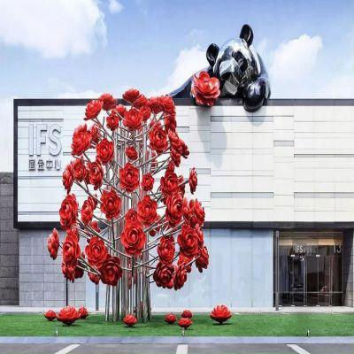 大型不锈钢玫瑰花树雕塑