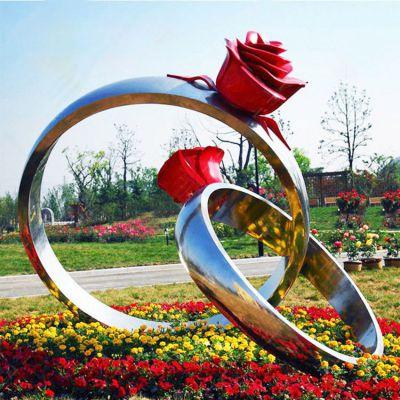 不锈钢玫瑰花戒指雕塑