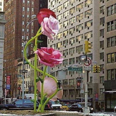 玻璃钢玫瑰花雕塑