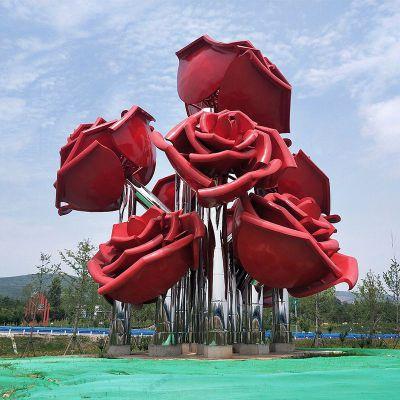 不锈钢玫瑰花景观雕塑