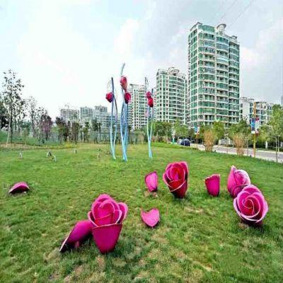 公园不锈钢玫瑰花雕塑