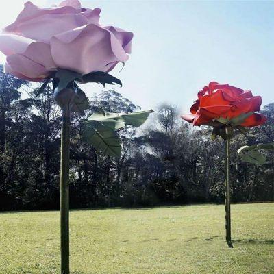 不锈钢玫瑰花公园雕塑摆件