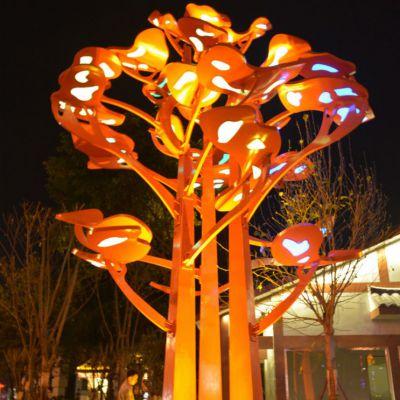 不锈钢树灯光雕塑