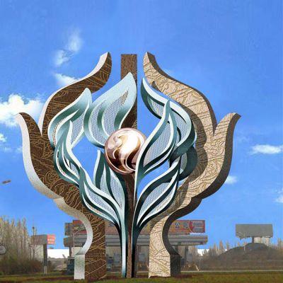 广场不锈钢抽象树雕塑