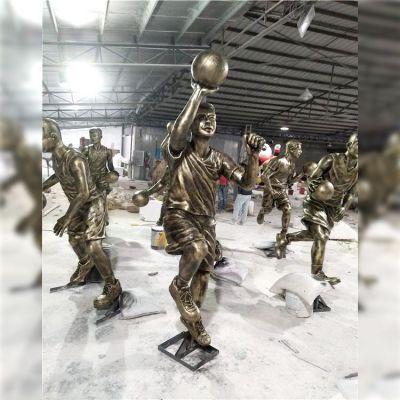 投篮-玻璃钢打篮球人物雕塑