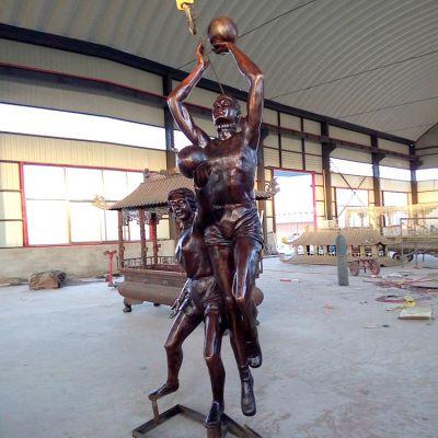 投篮玻璃钢仿铜人物雕塑