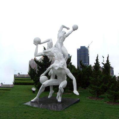 公园不锈钢网格打篮球雕塑