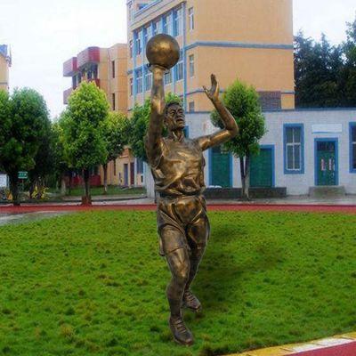 玻璃钢仿铜人物打篮球雕塑