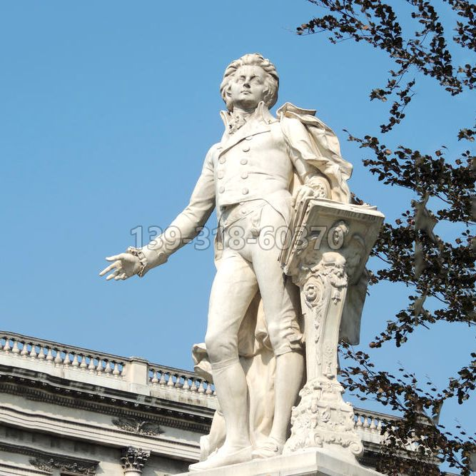 莫扎特汉白玉石雕像