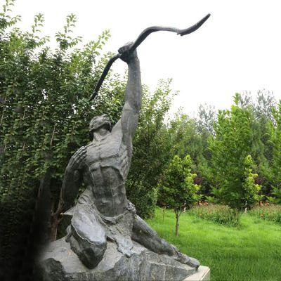 后羿射日青石雕塑