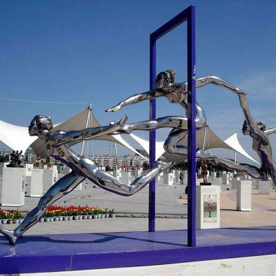 奔跑镜面不锈钢雕塑