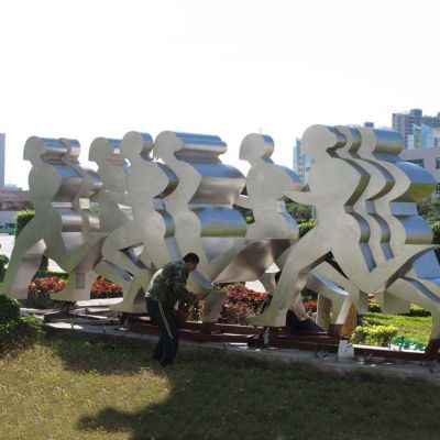 不锈钢跑步剪影雕塑