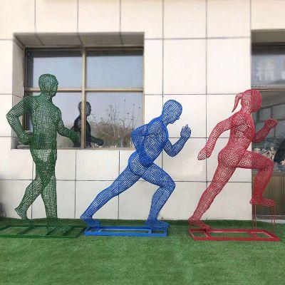 不锈钢网格跑步人物雕塑