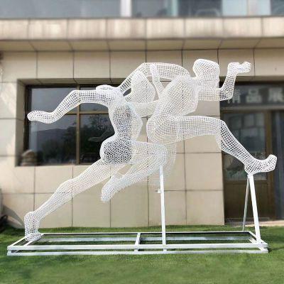 不锈钢跑步人物网格雕塑