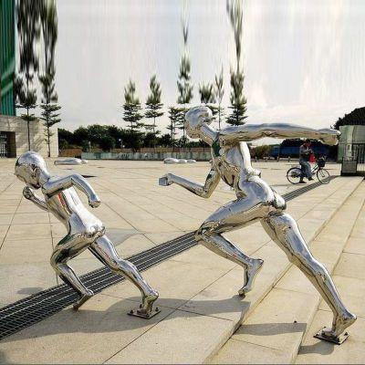 镜面不锈钢跑步人物雕塑