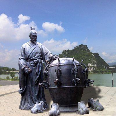 张衡地动仪地震仪雕塑