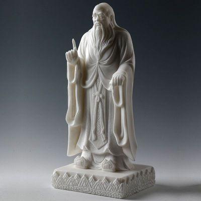 汉白玉老子石雕像