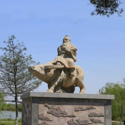 老子骑牛砂岩石雕
