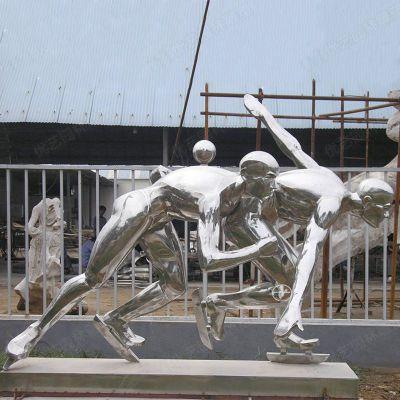 镜面滑冰人物不锈钢雕塑