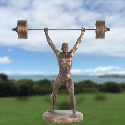 仿铜举重人物玻璃钢雕塑