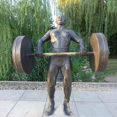 公园举重人物铜雕塑