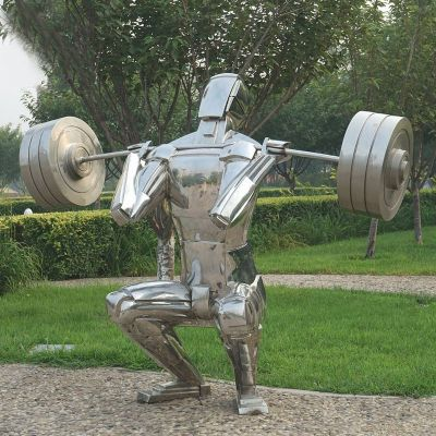 举重人物镜面不锈钢雕塑
