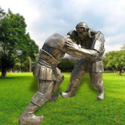 仿铜摔跤人物雕塑