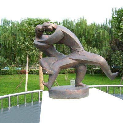 抽象摔跤人物铜雕