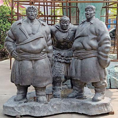 蒙古族摔跤人物雕塑