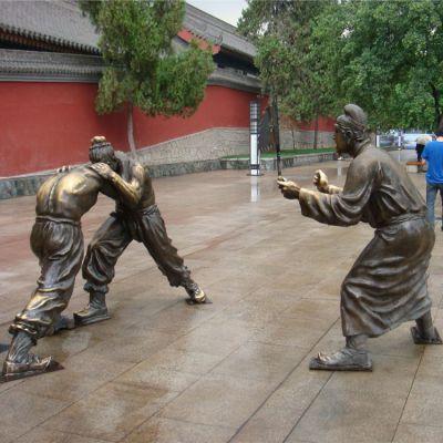摔跤-步行街情景小品铜雕