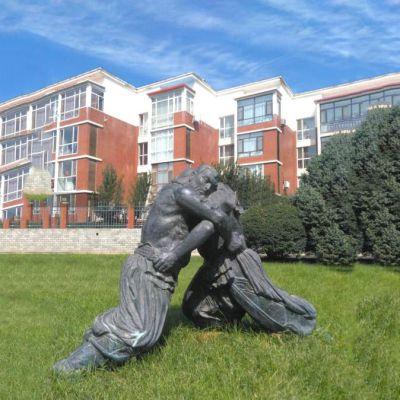 摔跤公园人物雕塑