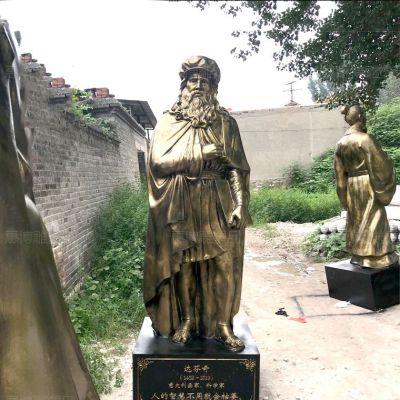 达芬奇玻璃钢仿铜雕塑