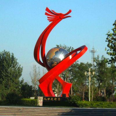 不锈钢抽象龙形景观雕塑