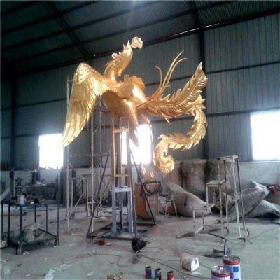 锻铜鎏金凤凰雕塑