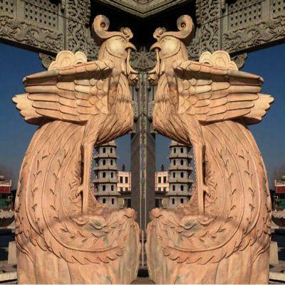 晚霞红石雕凤凰雕塑