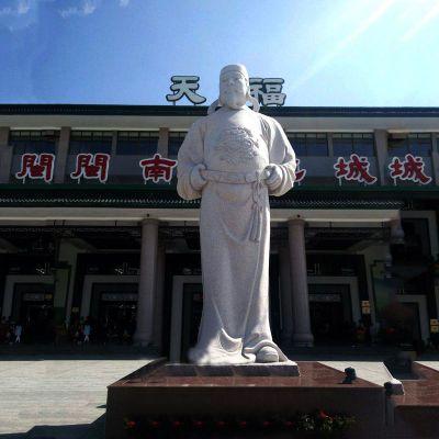 李世民汉白玉石雕像